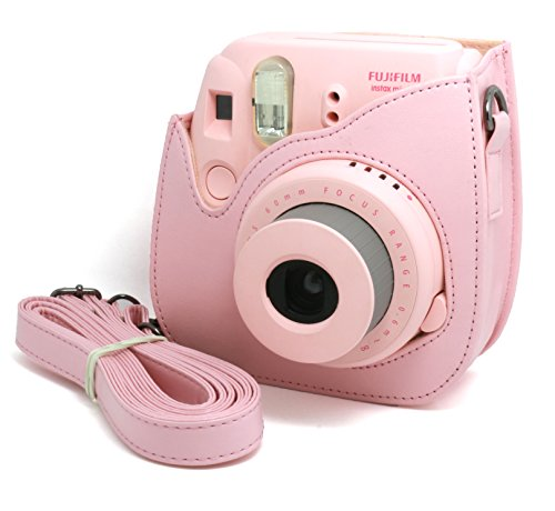 Camera Pink Flamingo Woodmin Compatible Groovy PU Leather Camera Case with Shoulder Strap for Fujifilm Instax Mini 9 8 8